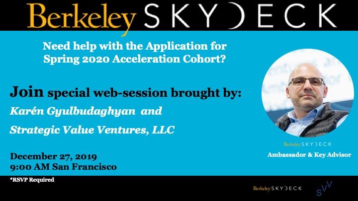 Օնլայն սեսիա Բերքլիի SkyDeck աքսելերացիոն ծրագրին դիմելու համար