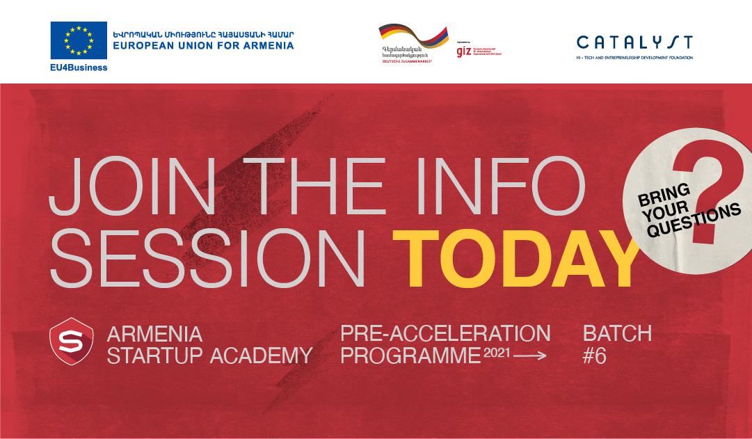Հայաստանի Ստարտափ ակադեմիան այսօր կանցկացնի տեղեկատվական հանդիպում՝ նախաաքսելերացիոն ծրագրի 6-րդ շրջանի մեկնարկին ընդառաջ
